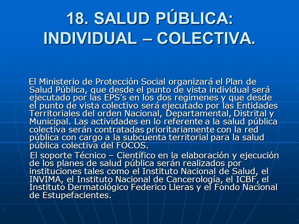 18. SALUD PÚBLICA: INDIVIDUAL – COLECTIVA.