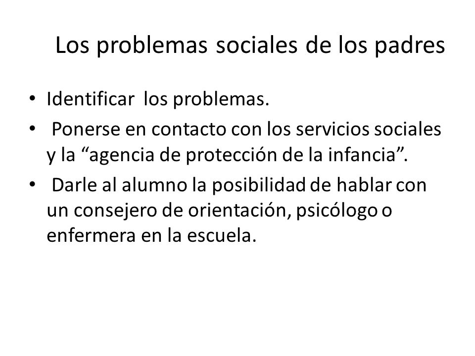 Los problemas sociales de los padres