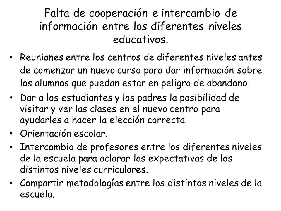 Falta de cooperación e intercambio de información entre los diferentes niveles educativos.