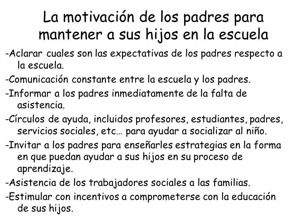 La motivación de los padres para mantener a sus hijos en la escuela