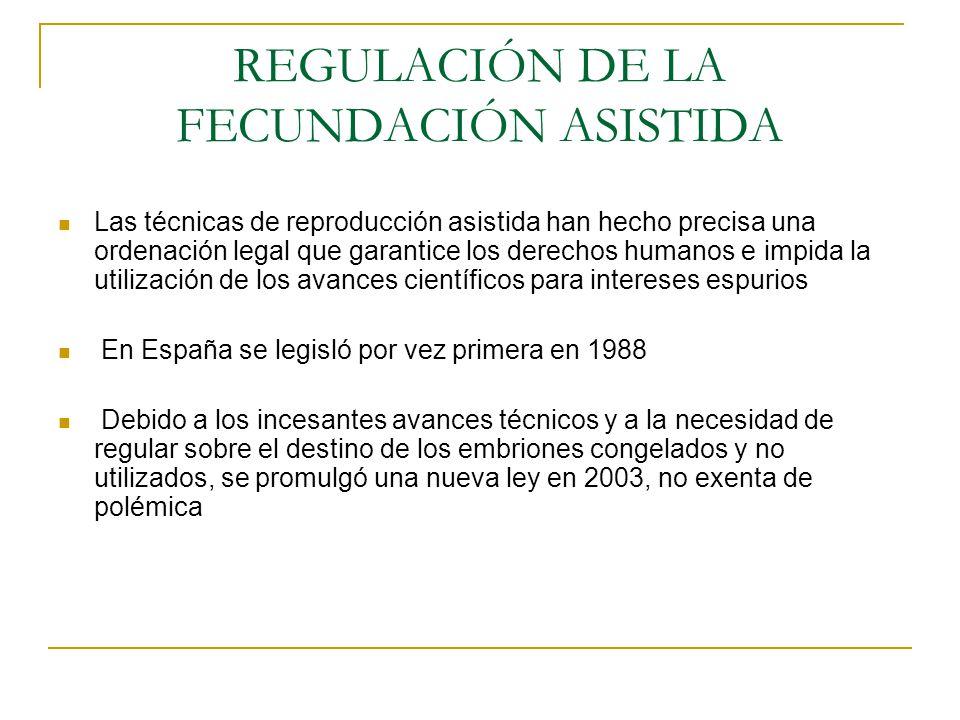 REGULACIÓN DE LA FECUNDACIÓN ASISTIDA