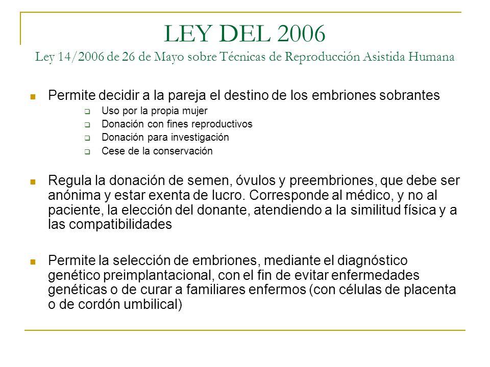 LEY DEL 2006 Ley 14/2006 de 26 de Mayo sobre Técnicas de Reproducción Asistida Humana