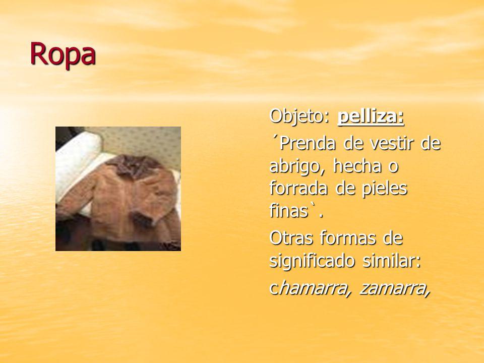 Ropa Objeto: pelliza: ´Prenda de vestir de abrigo, hecha o forrada de pieles finas`. Otras formas de significado similar: