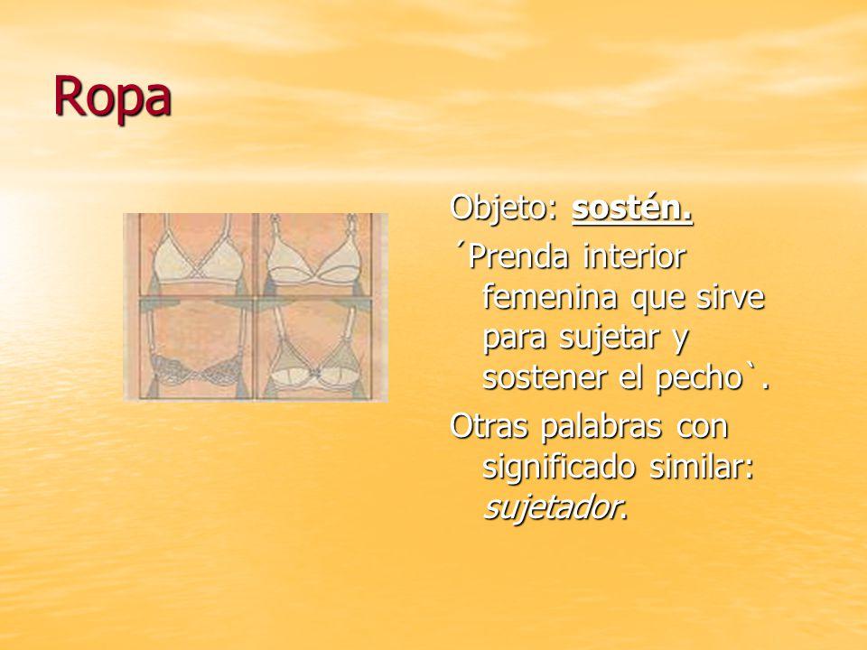 Ropa Objeto: sostén. ´Prenda interior femenina que sirve para sujetar y sostener el pecho`.