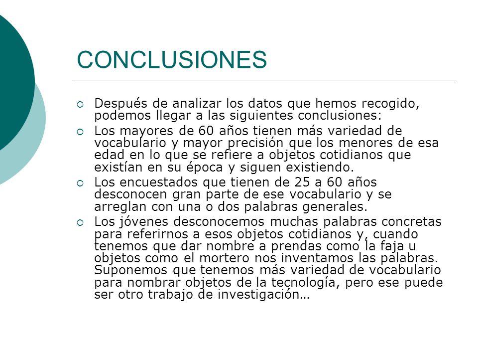 CONCLUSIONES Después de analizar los datos que hemos recogido, podemos llegar a las siguientes conclusiones: