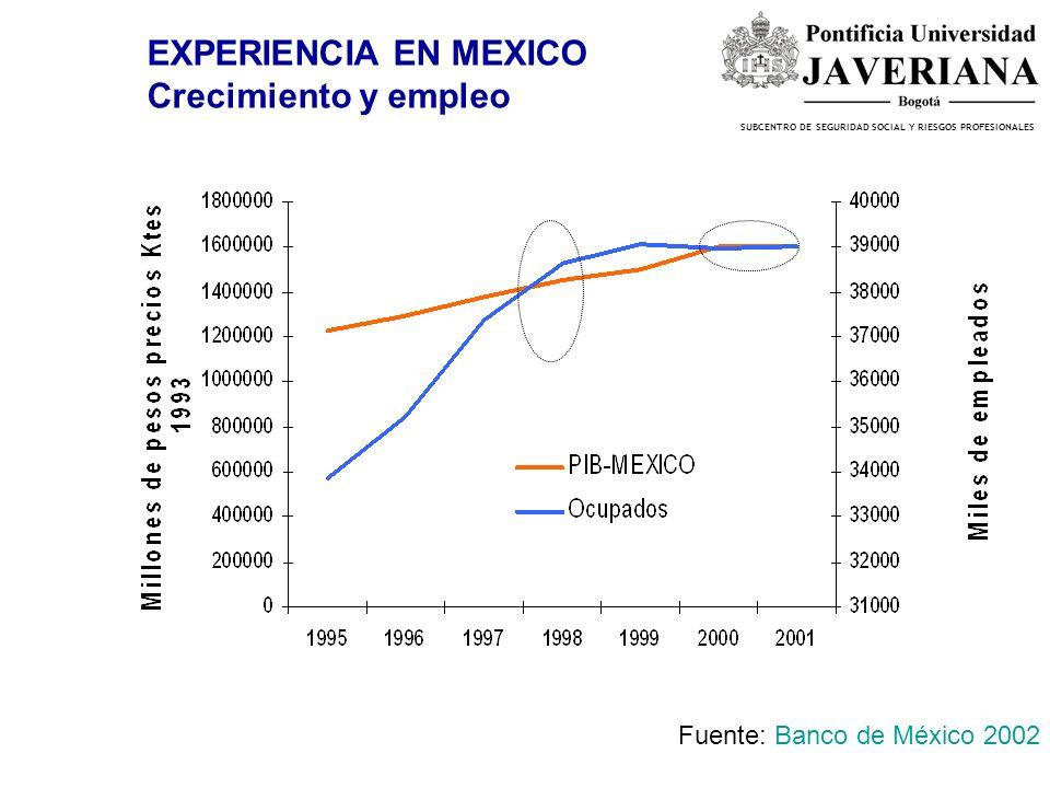 EXPERIENCIA EN MEXICO Crecimiento y empleo