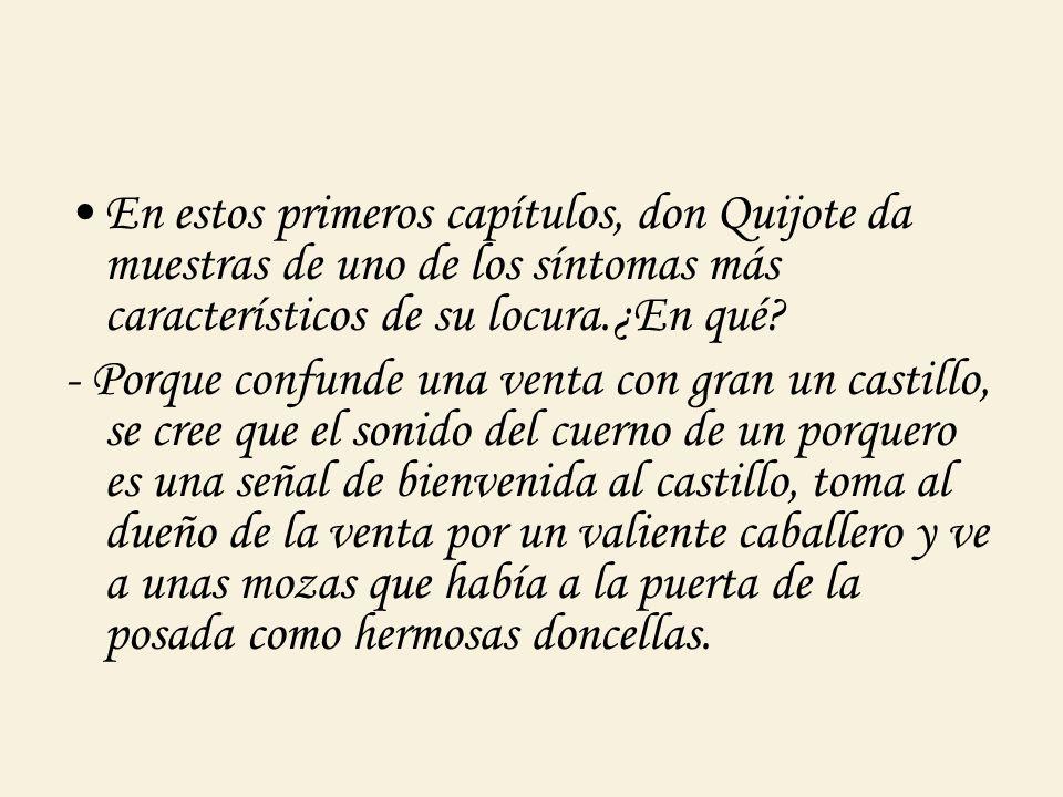 En estos primeros capítulos, don Quijote da muestras de uno de los síntomas más característicos de su locura.¿En qué