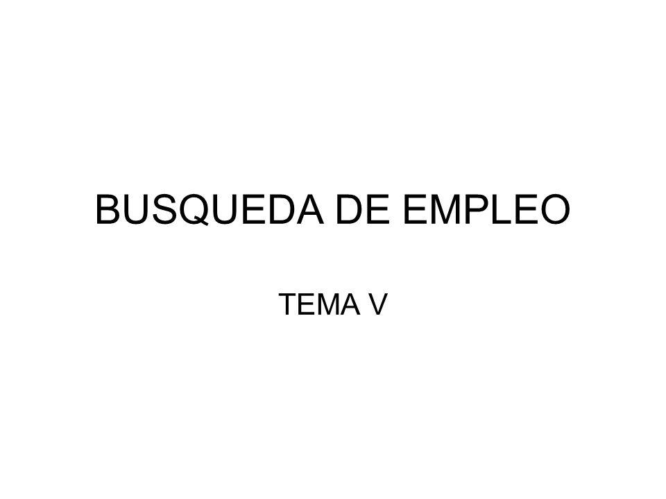 BUSQUEDA DE EMPLEO TEMA V