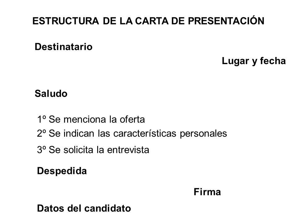 ESTRUCTURA DE LA CARTA DE PRESENTACIÓN