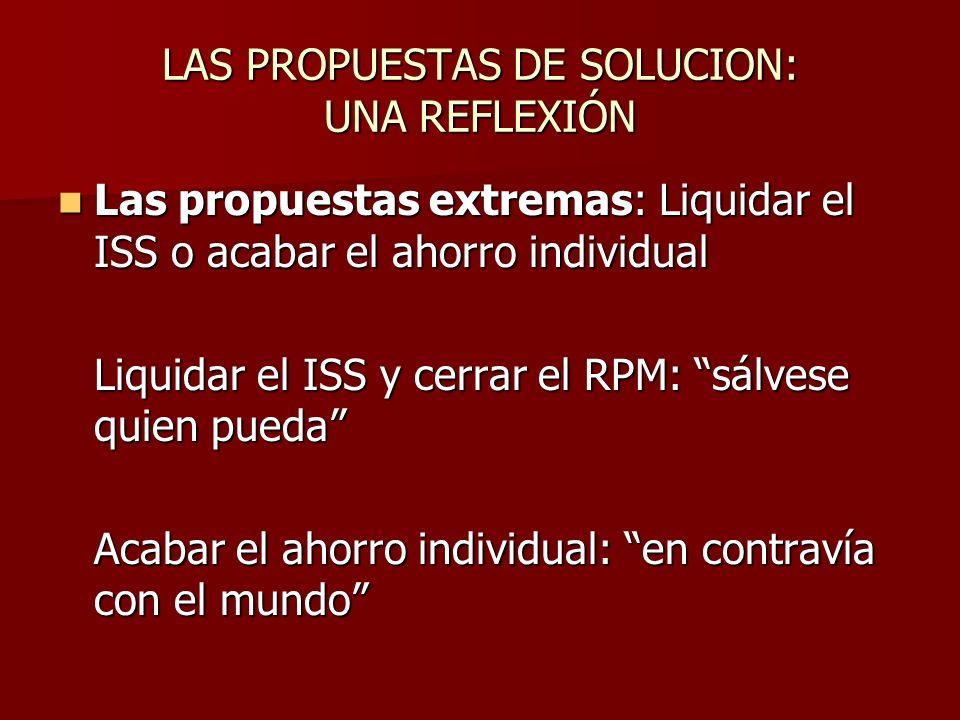 LAS PROPUESTAS DE SOLUCION: UNA REFLEXIÓN