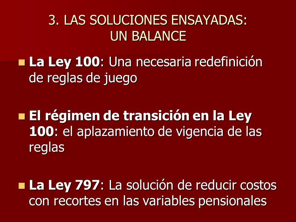 3. LAS SOLUCIONES ENSAYADAS: UN BALANCE