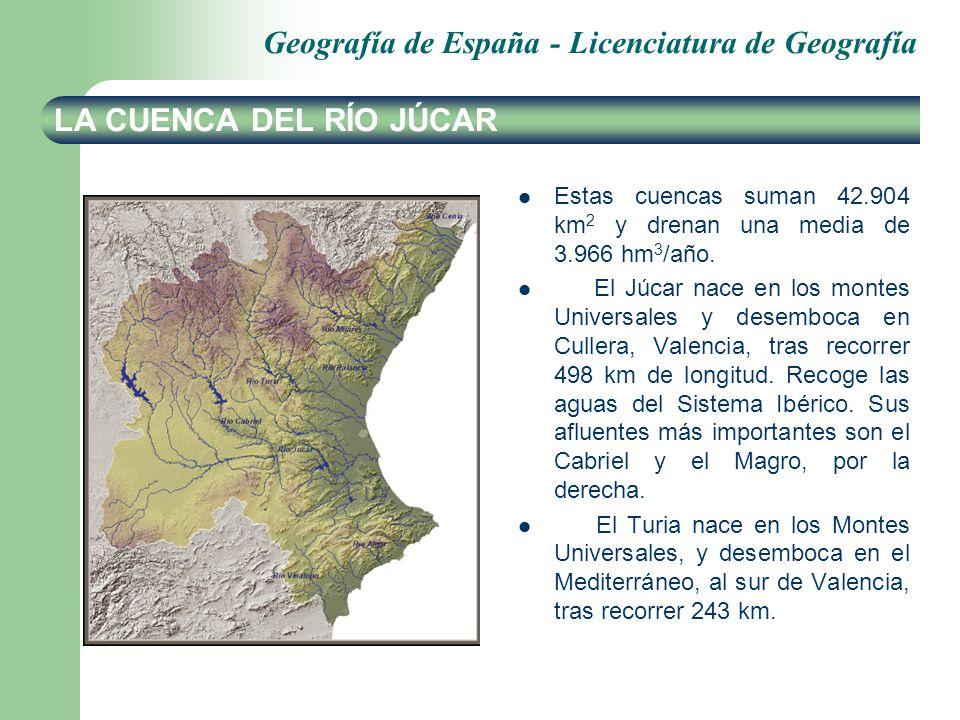 LA CUENCA DEL RÍO JÚCAR Estas cuencas suman 42.904 km2 y drenan una media de 3.966 hm3/año.