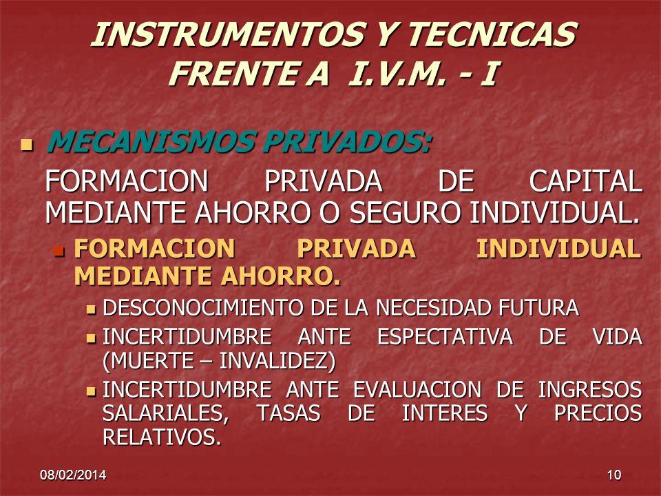 INSTRUMENTOS Y TECNICAS FRENTE A I.V.M. - I