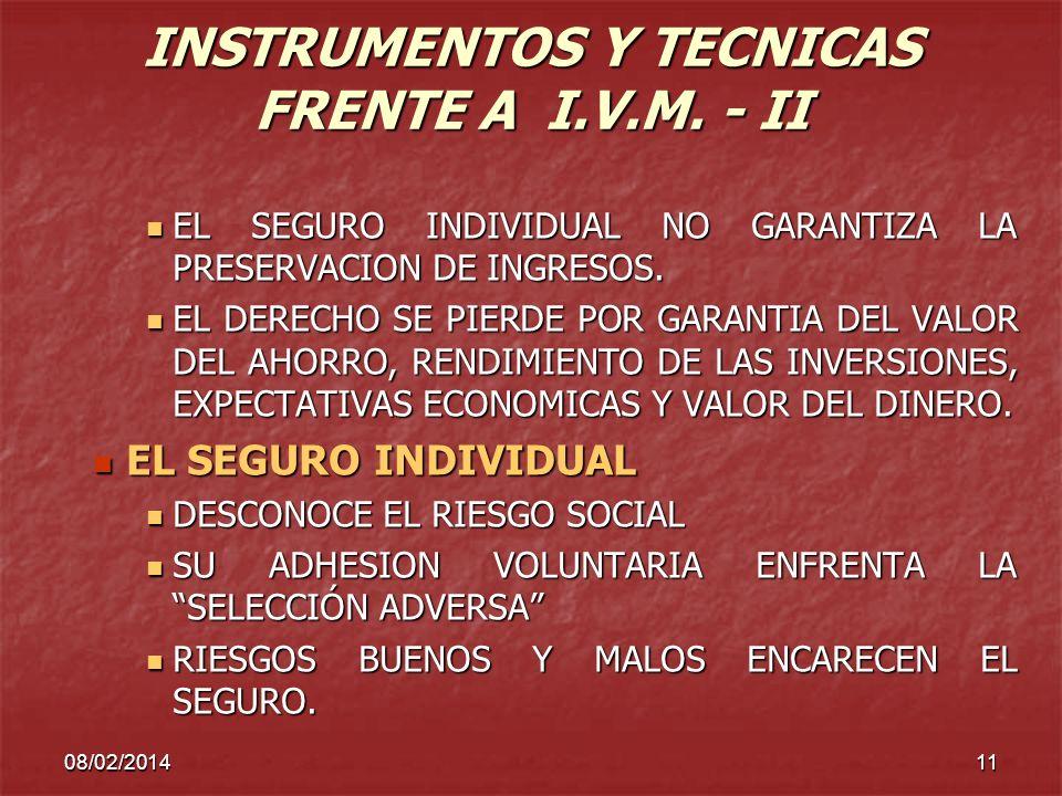 INSTRUMENTOS Y TECNICAS FRENTE A I.V.M. - II