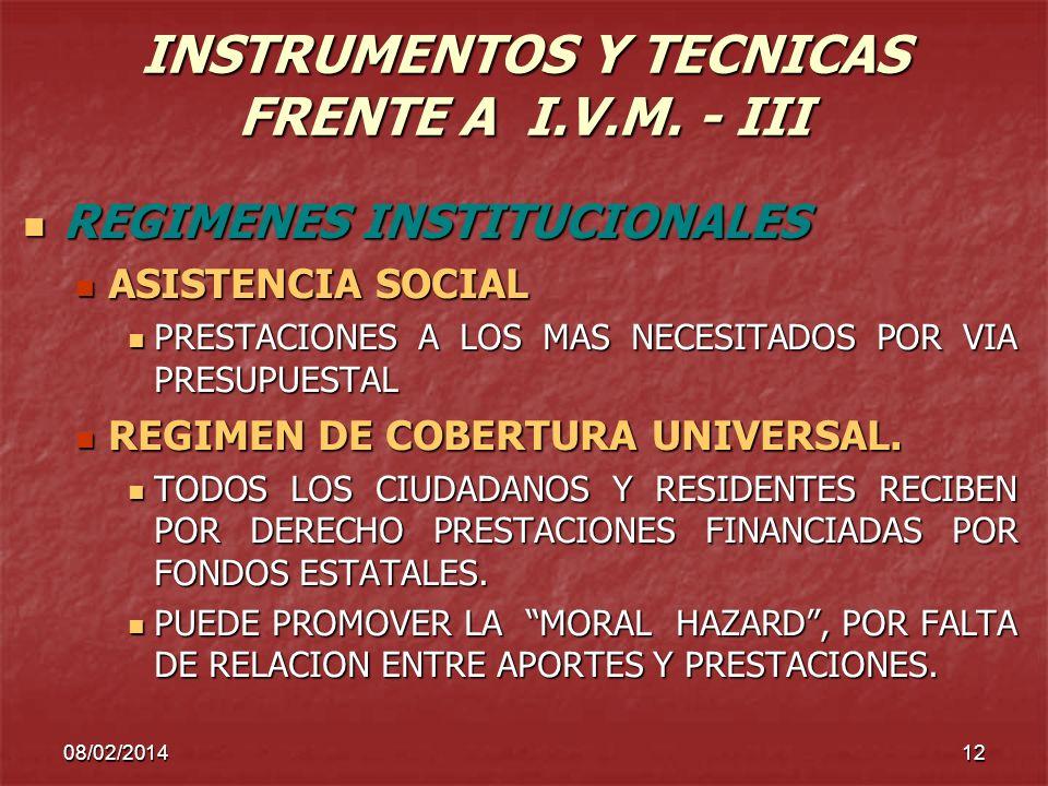 INSTRUMENTOS Y TECNICAS FRENTE A I.V.M. - III