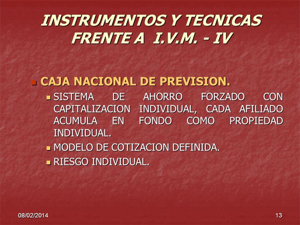 INSTRUMENTOS Y TECNICAS FRENTE A I.V.M. - IV
