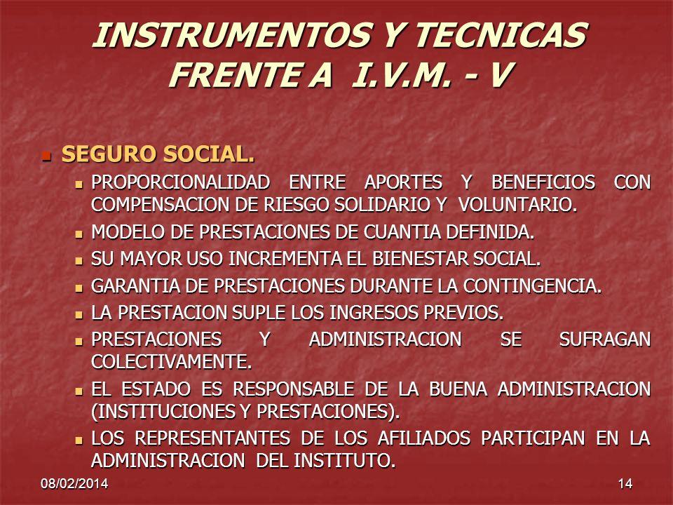 INSTRUMENTOS Y TECNICAS FRENTE A I.V.M. - V