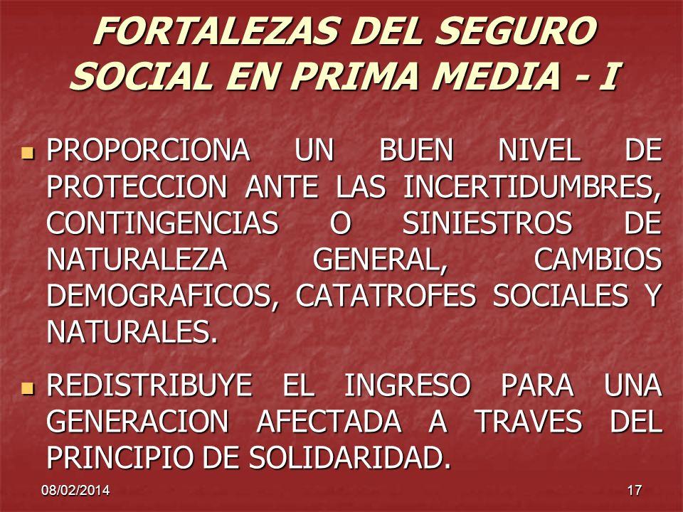 FORTALEZAS DEL SEGURO SOCIAL EN PRIMA MEDIA - I