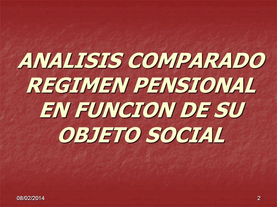 ANALISIS COMPARADO REGIMEN PENSIONAL EN FUNCION DE SU OBJETO SOCIAL