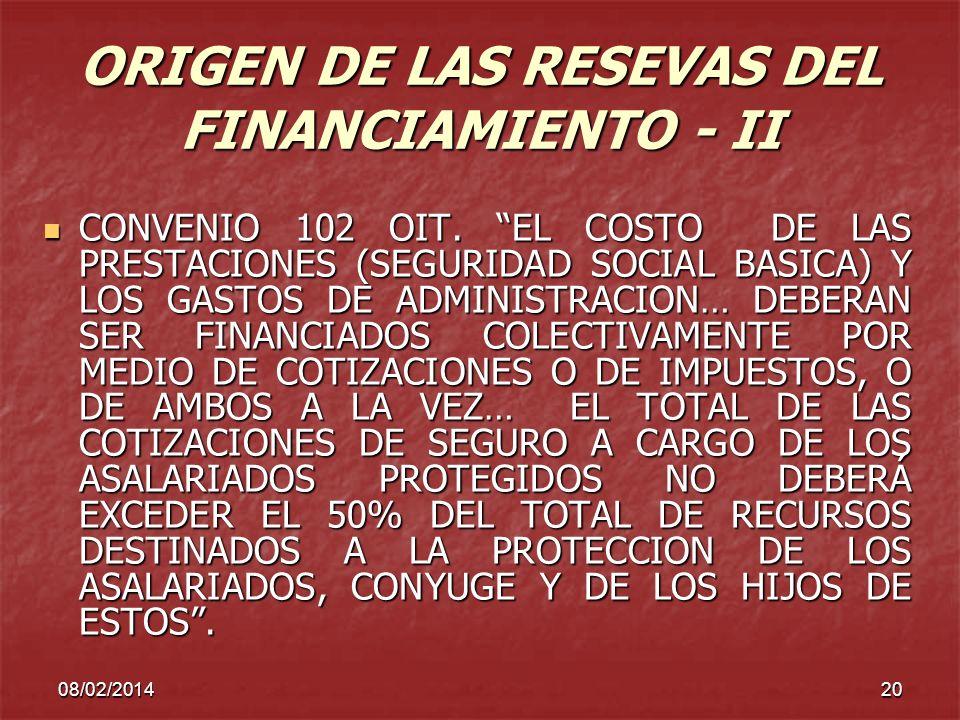 ORIGEN DE LAS RESEVAS DEL FINANCIAMIENTO - II