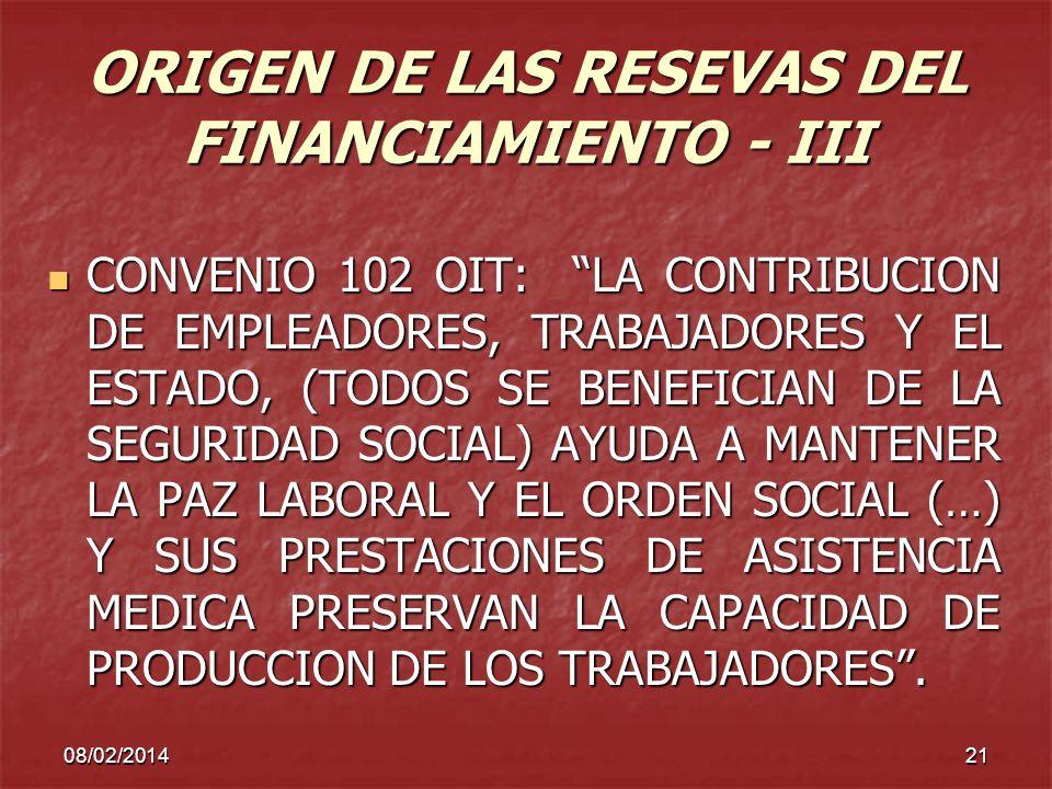 ORIGEN DE LAS RESEVAS DEL FINANCIAMIENTO - III