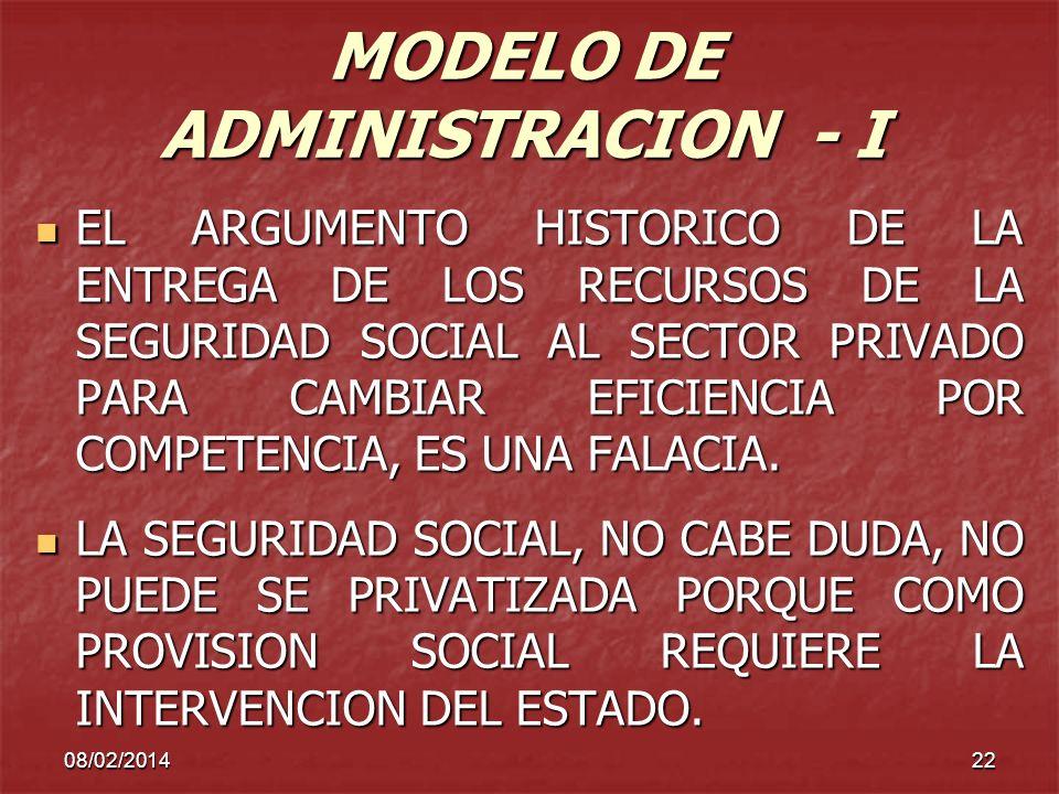 MODELO DE ADMINISTRACION - I