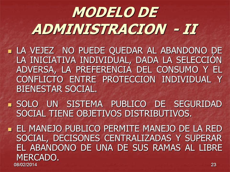 MODELO DE ADMINISTRACION - II