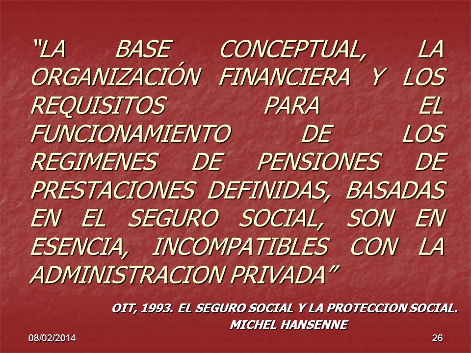 OIT, 1993. EL SEGURO SOCIAL Y LA PROTECCION SOCIAL. MICHEL HANSENNE
