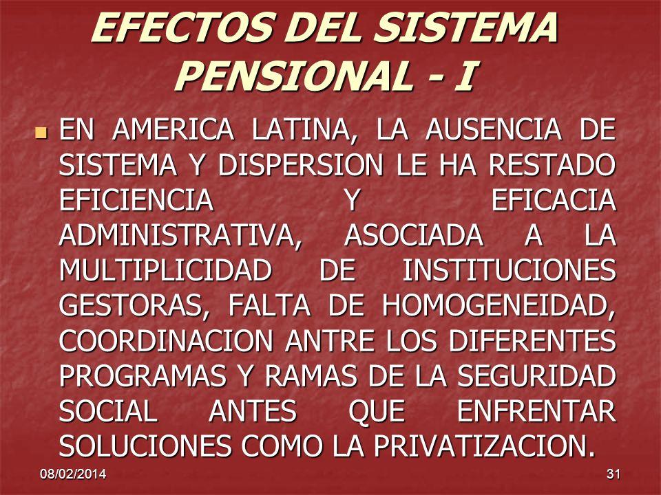 EFECTOS DEL SISTEMA PENSIONAL - I