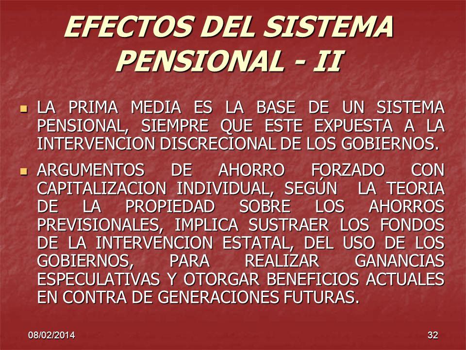 EFECTOS DEL SISTEMA PENSIONAL - II