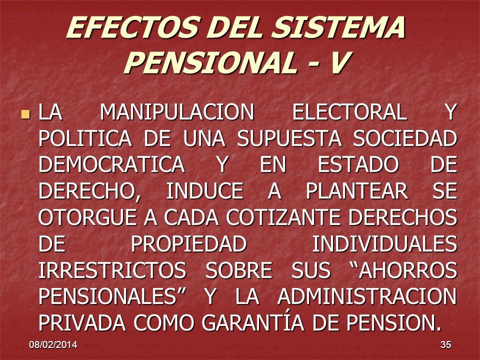 EFECTOS DEL SISTEMA PENSIONAL - V
