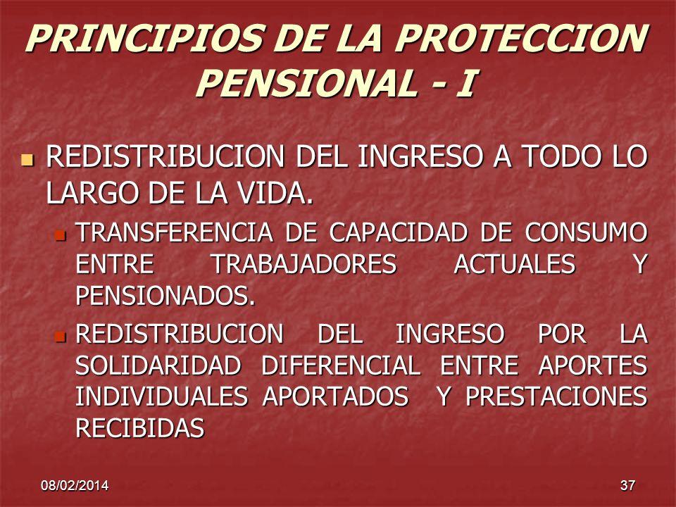 PRINCIPIOS DE LA PROTECCION PENSIONAL - I
