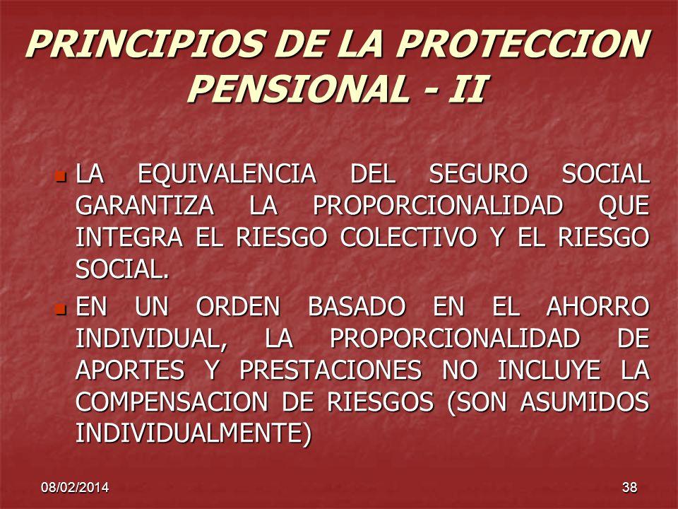 PRINCIPIOS DE LA PROTECCION PENSIONAL - II