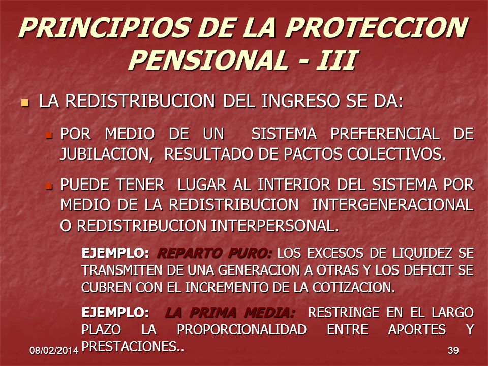 PRINCIPIOS DE LA PROTECCION PENSIONAL - III
