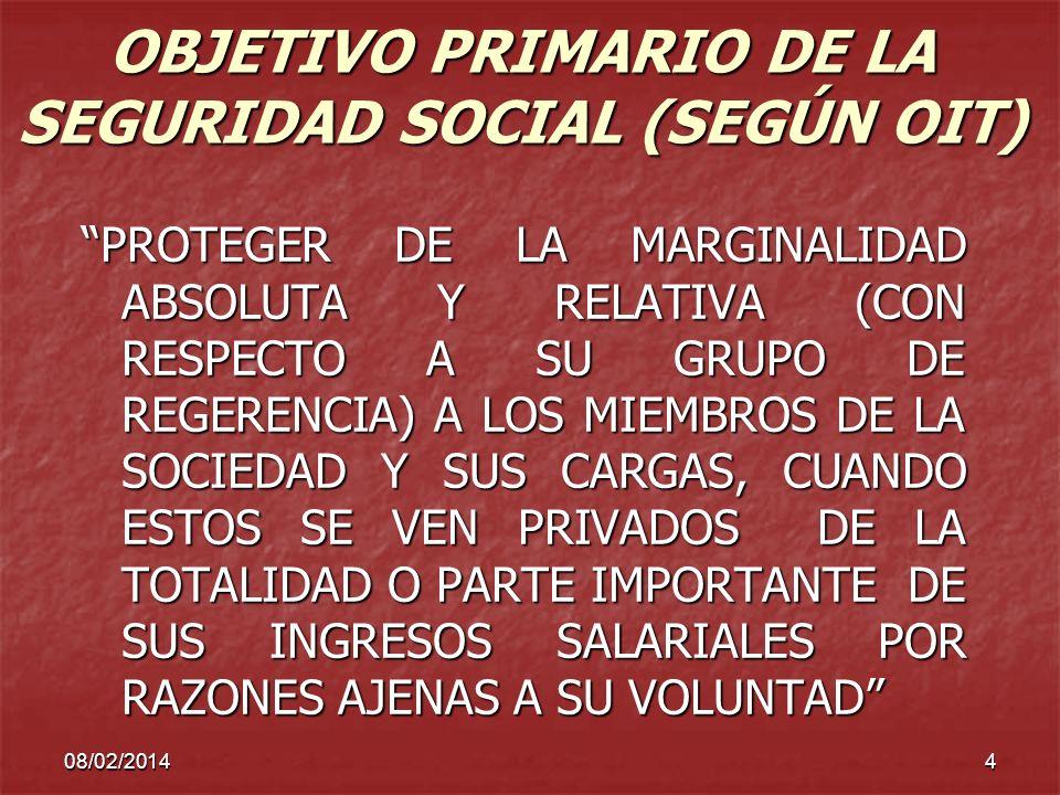 OBJETIVO PRIMARIO DE LA SEGURIDAD SOCIAL (SEGÚN OIT)