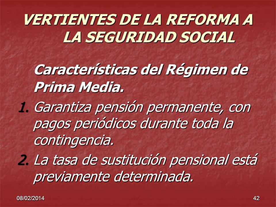 VERTIENTES DE LA REFORMA A LA SEGURIDAD SOCIAL