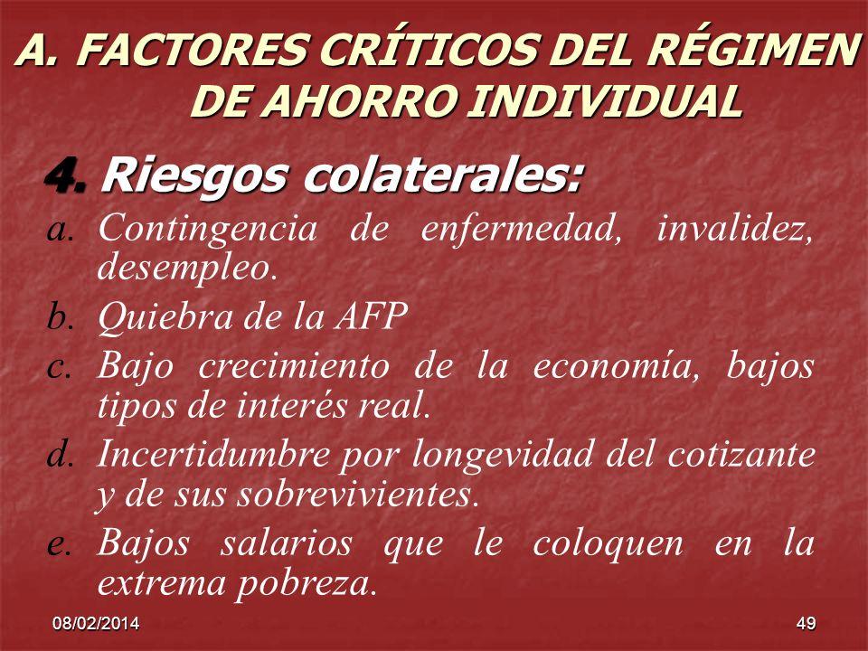 A. FACTORES CRÍTICOS DEL RÉGIMEN DE AHORRO INDIVIDUAL