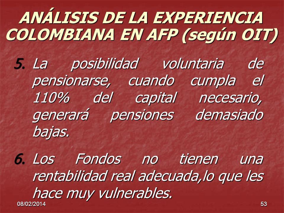 ANÁLISIS DE LA EXPERIENCIA COLOMBIANA EN AFP (según OIT)