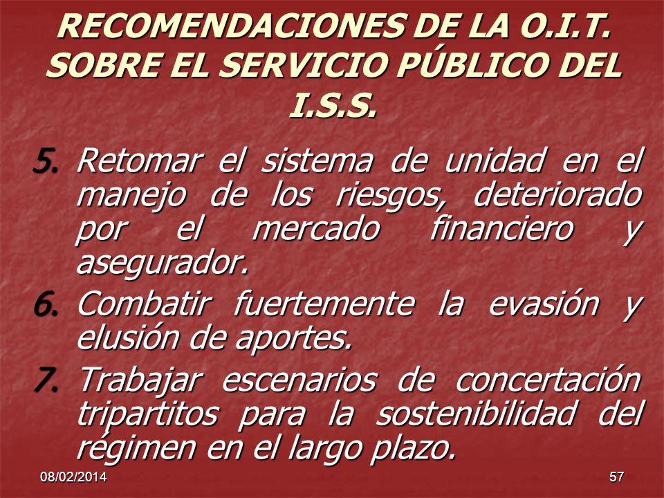 RECOMENDACIONES DE LA O.I.T. SOBRE EL SERVICIO PÚBLICO DEL I.S.S.