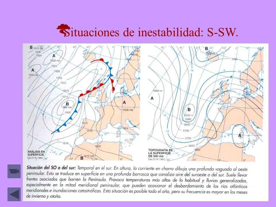 Situaciones de inestabilidad: S-SW.