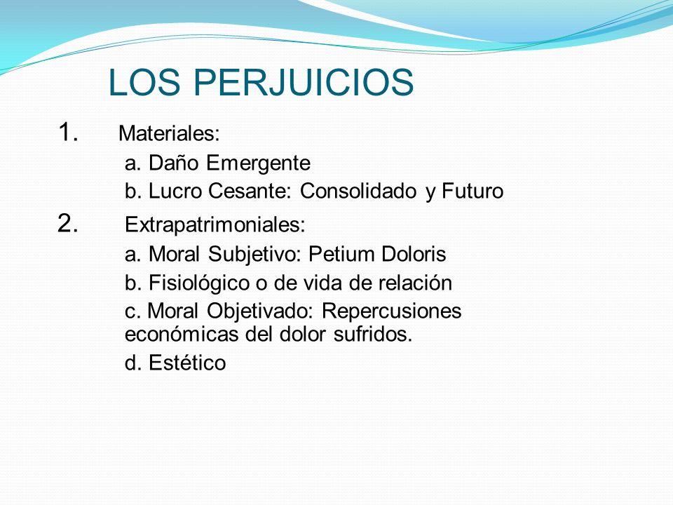 LOS PERJUICIOS 1. Materiales: 2. Extrapatrimoniales: a. Daño Emergente