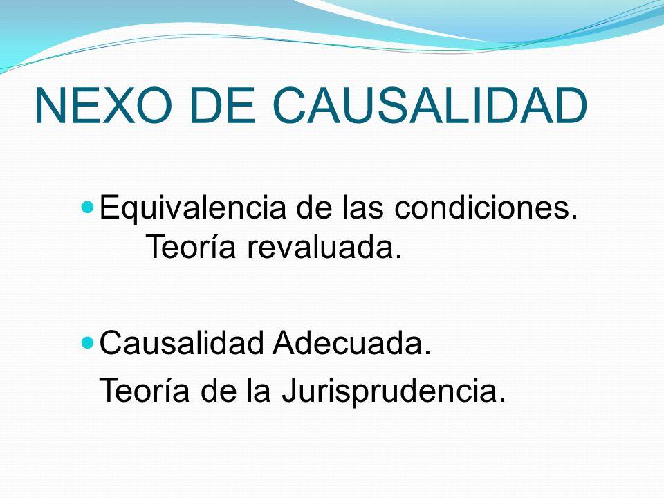 NEXO DE CAUSALIDAD Equivalencia de las condiciones. Teoría revaluada.