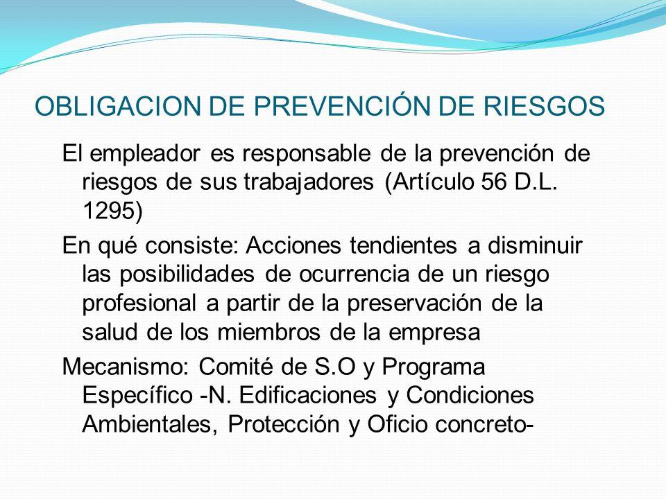 OBLIGACION DE PREVENCIÓN DE RIESGOS
