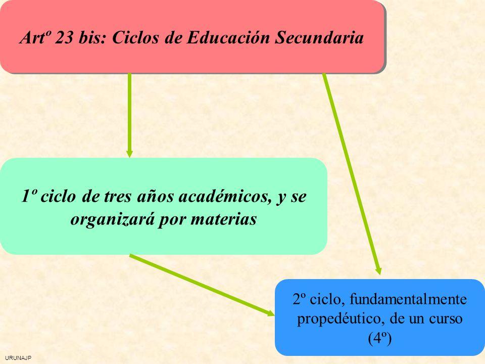 Artº 23 bis: Ciclos de Educación Secundaria