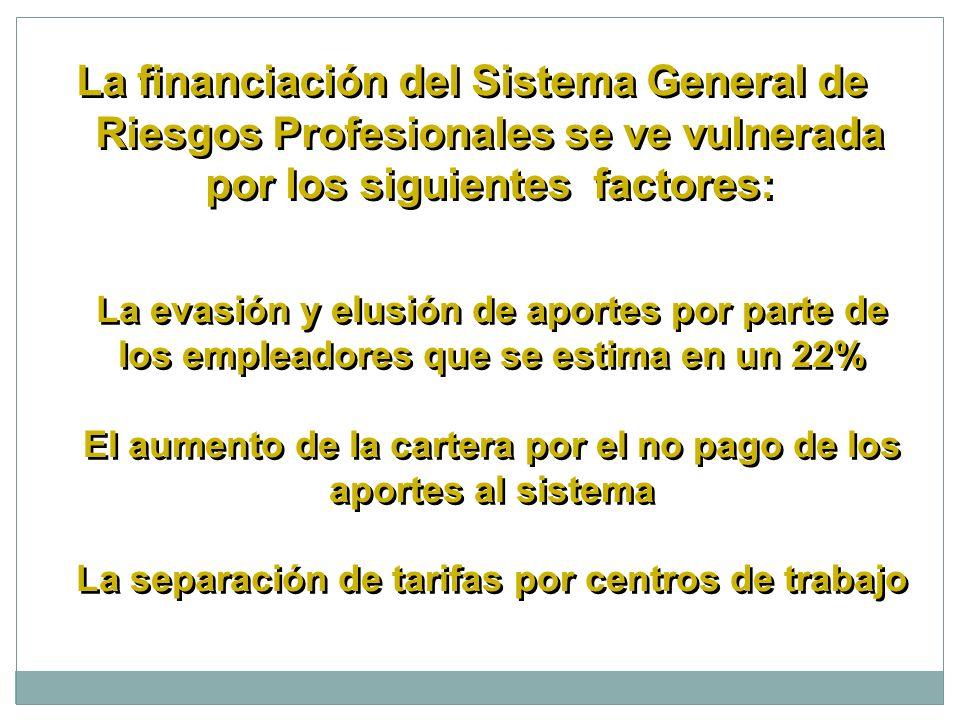 La financiación del Sistema General de Riesgos Profesionales se ve vulnerada por los siguientes factores: