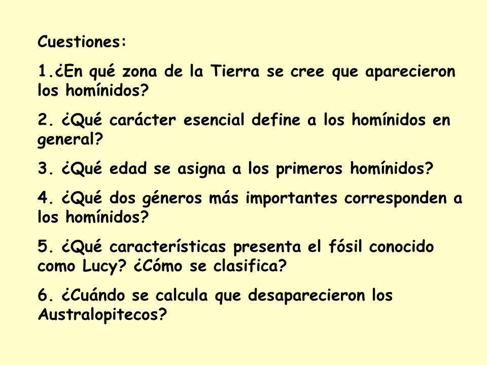 Cuestiones: 1.¿En qué zona de la Tierra se cree que aparecieron los homínidos 2. ¿Qué carácter esencial define a los homínidos en general