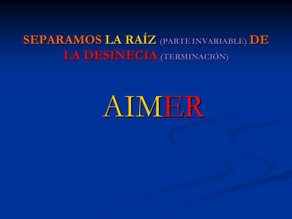 SEPARAMOS LA RAÍZ (PARTE INVARIABLE) DE LA DESINECIA (TERMINACIÓN)