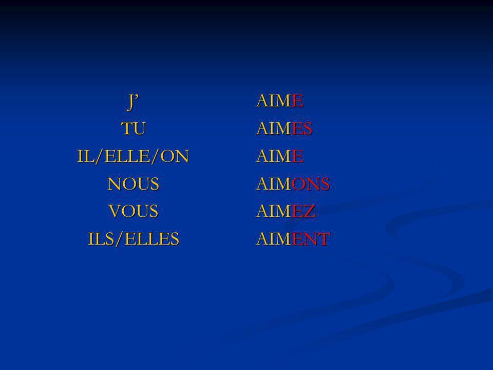 J' TU IL/ELLE/ON NOUS VOUS ILS/ELLES AIME AIMES AIMONS AIMEZ AIMENT