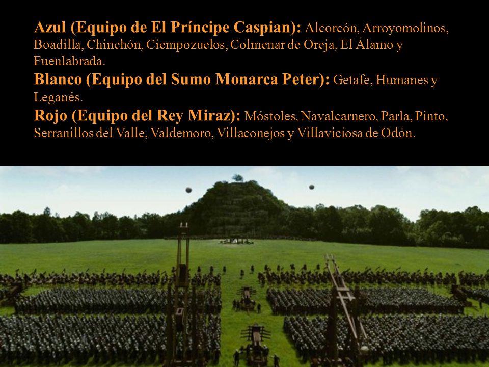 Azul (Equipo de El Príncipe Caspian): Alcorcón, Arroyomolinos, Boadilla, Chinchón, Ciempozuelos, Colmenar de Oreja, El Álamo y Fuenlabrada.