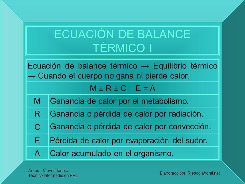 ECUACIÓN DE BALANCE TÉRMICO I